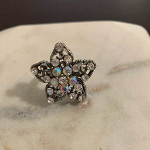 Star Cocktail Ring Rhinestones Size 8 Adjustable